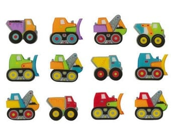 12 Pack Construction Trucks Edible SugarSoft Cake and Cupcake Decorations
