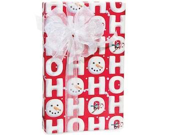 HO HO HO Red and White Christmas Script Gift Wrap Paper -15ft