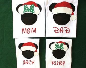 Matching Disney Mickey and Minnie Santa shirts, Family Disney Christmas Shirts, Disney Christmas Shirts, Matching Family Disney Shirts