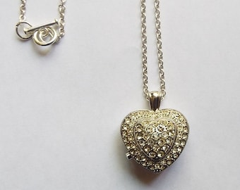 Handmade Vintage Silver Tone Rhinestone Heart Watch Locket Pendant Necklace