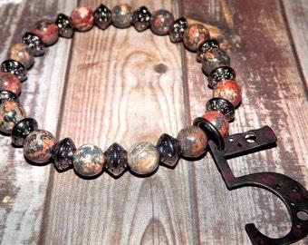 Leopard Jasper Bracelet, Jasper Bracelet, Charm Bracelet