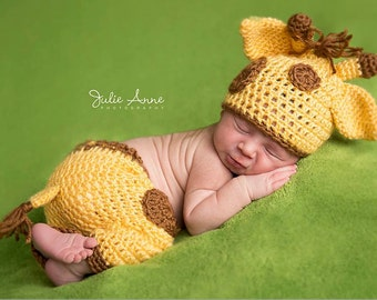 Giraffe Newborn Hat and Pant Set - Made to Order - Newborn Photography Prop - Animal Prop Outfit - Newborn Props - Giraffe Hat - Prop Outfit
