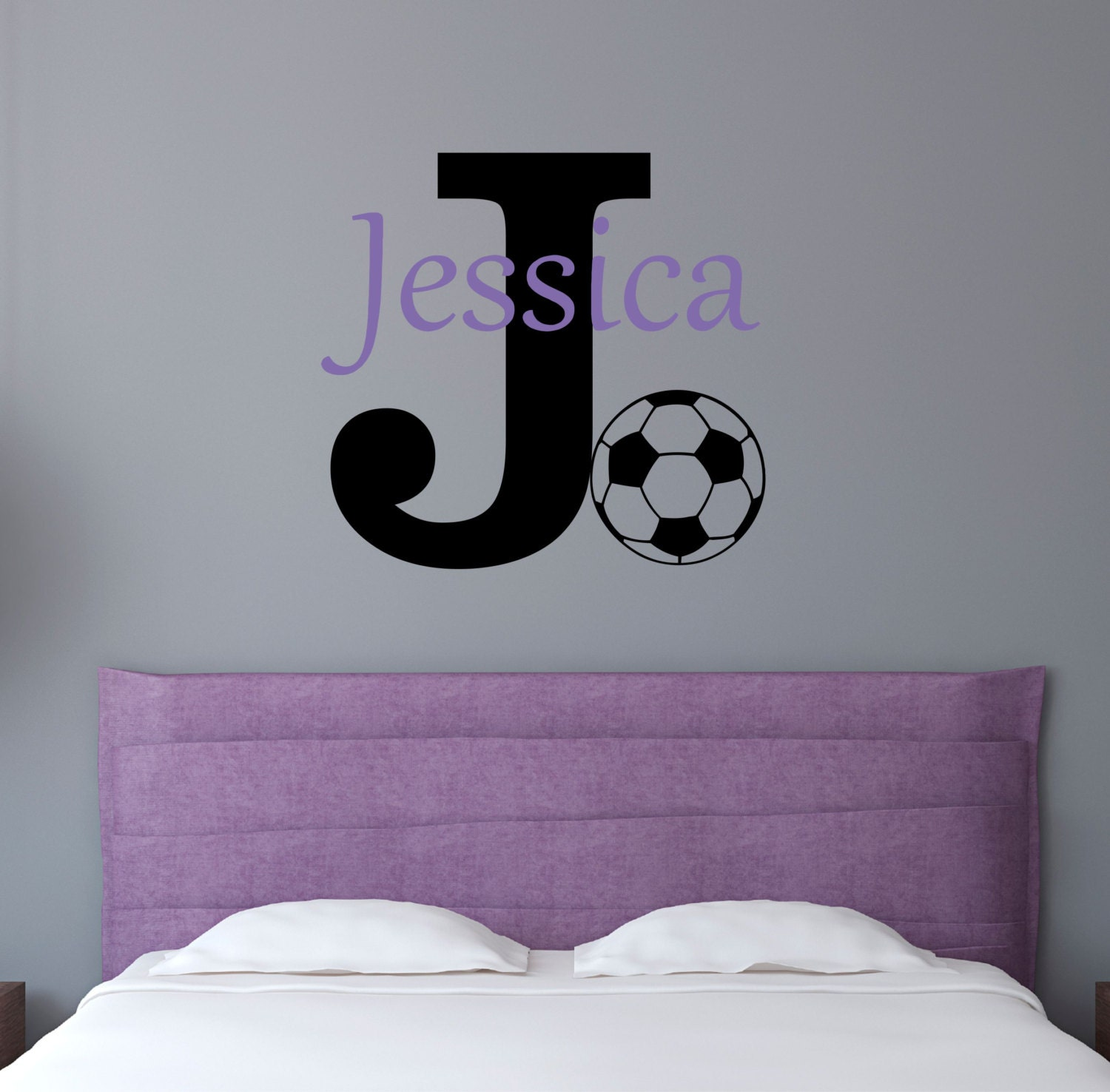 personalized name soccer wall decal sticker. Black Bedroom Furniture Sets. Home Design Ideas