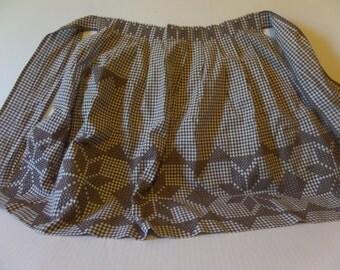 Vintage hand stitched brown waist apron
