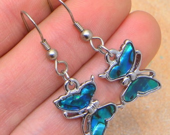 GORGEOUS! ABaLONE SHELL BUTTERFLY EaRRINGS 1 5/8""