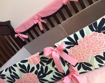 Caitlin Wilson Bumper Pads - Baby Girl Bedding - Navy Fleur - Nursery - Pink, Navy and Mint - Trendy - Custom Baby Bedding -