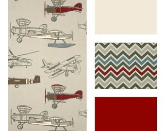 Vintage Airplane Baby Boy Bedding - Toddler Bedding - Nursery - Minky Blanket - Crib Skirt - Bumper Pads - Rail Guard - Baby Boy Bedding