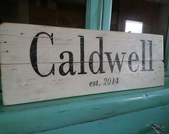 Reclaimed wood last name sign / established in / hand painted custom name sign