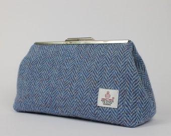 Clutch Bag / Harris Tweed / Blue Herringbone / Clutch Purse / Evening Bag