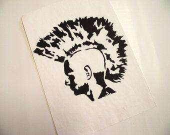A4 Punk with Mohawk Mono-Print