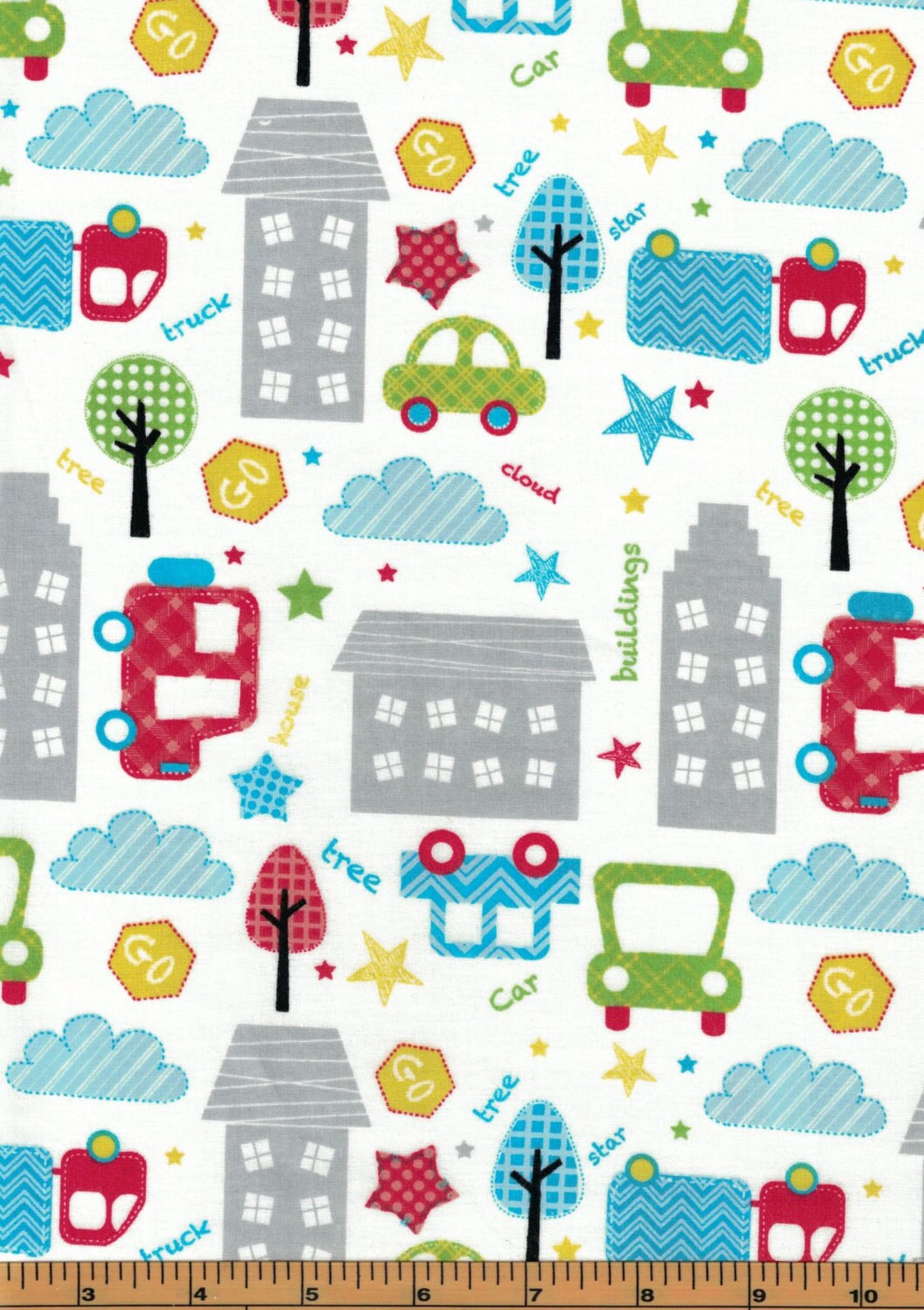 Large city cars toss on white background urban zoo for Galaxy fabric canada
