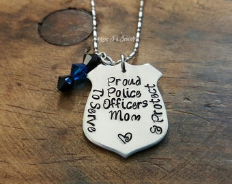Proud Police Officers Mom Engraved Necklace, Police Badge Necklace, Gift For Her, To Protect & Serve Necklace, Police Wife, Police Mom