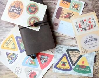 Vintage Journal sticker set/ Planner stickers/ Labels set