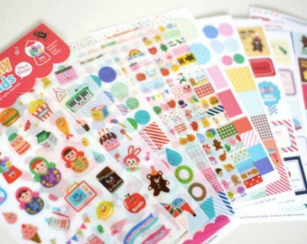 Planner sticker set of 12 sheets, Kawaii Cute snail mail set, Yummy Friends stickers