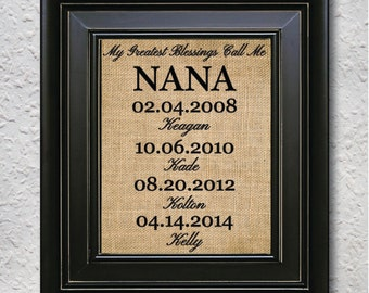 My Greatest Blessings Call Me Nana - burlap print , Christmas Gift for Grand Parents, Personalized Nana Gift, Grandchildren Name Wall Art-2Y