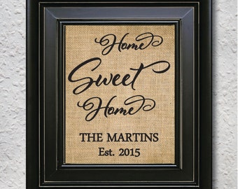 Home sweet home, Personalized Home sweet home SIGN, Home Sweet home wall decor, Home Sweet Home PRINT, Home Sweet home burlap print-4D