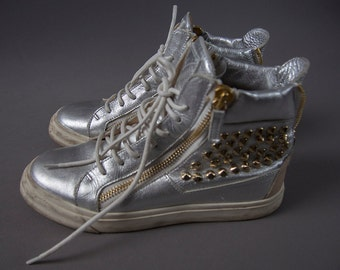 Vintage Style High Top Sneakers, Giuseppe Zanotti, made in Italy, Silver High Tops with Gold Studs