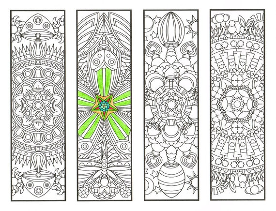 Coloring Bookmarks - Fantasy Forest Mandalas Page 1 - coloring for adults, big kids and bookworms - get well soon gift