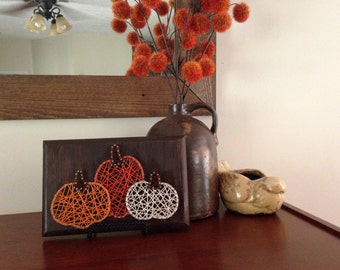 Pumpkin trio string art sign
