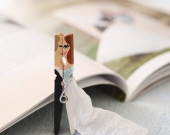 Wedding favors - high personalised painted clothespins for guests