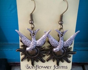 Beautiful Earrings,Bronze sunshine with silver sparrows, hung on bronze hooks