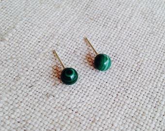 Malachite Earrings, 4mm Stud Earrings ,4mm Studs, Malachite Jewelry, Malachite Jewellry, Malachite Stud Earrings, Tiny Stud Earrings, GSE21