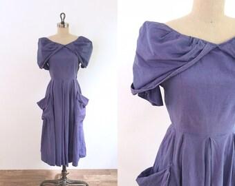 1940s Vintage Purple Blue Dress | xs