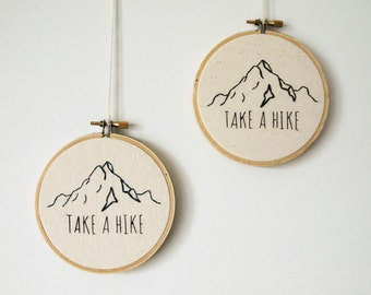 """Mountain Outline with """"Take a Hike"""" or """"Get Lost"""" Quote - Finished Embroidery Product in 4-in Hoop"""