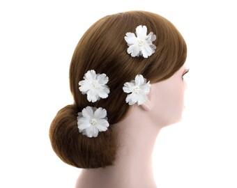 White Wedding Flower U pin,Hair pin,Bride,bridesmaid Flower Hair Clips -WHU103