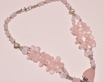 925 Solid Sterling Silver Necklace Rose Quartz (DDI)