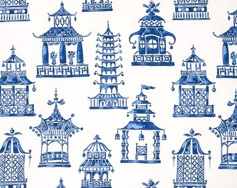 TWO YARDS: FABRIC by the yard chinoiserie fabric, blue and white fabric, Lilly Pulitzer fabric, upholstery fabric, blue fabric, pagoda