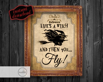 Halloween Printable Art - Witch Poster - Instant Download / DIY