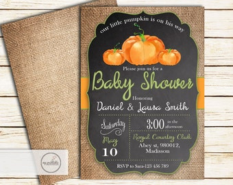 A Little Pumpkin is on the Way Invitation / Digital Printable Baby Shower Invite / DIY Party