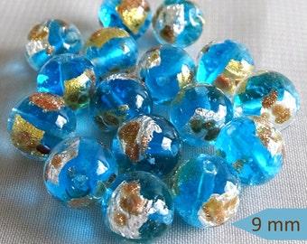 Aqua Light Blue Handmade Venetian Glass Beads - Sets of 2 | LUN101-2