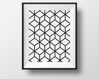 Wall art, print, cubic, black and white, frame, ikea ribba.