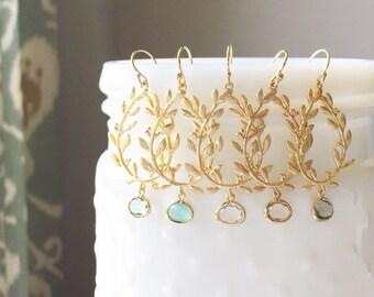 LAUREL | Bridesmaid Earrings | Charcoal Gray + Gold Laurel Wreath Earrings | Gold Teardrop Earrings | Leaf Earrings Gold | Gray Bridesmaid