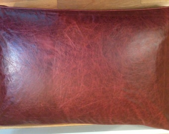 Burgundy, Rectangle, LEATHER, Dog Bed