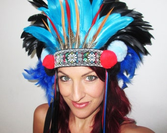 Feather Headdress, festival headdress, black feather headdress, colourful headdress, cute headdress