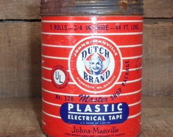 Dutch Brand Plastic Electrical Tape Can - Adhesives Advertising - Vintage Tins - Collectible  - Mancave Decor - Electrical Supplies/Repair