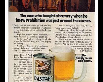 "Vintage Print Ad October 1969 : Falstaff Beer Advertisement Wall Art Decor Color 8.5"" x 11"""