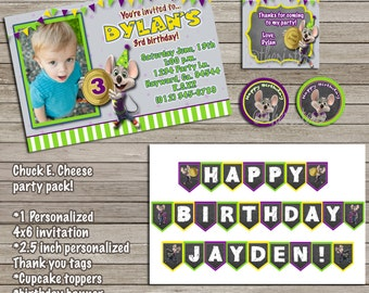 Chuck E Cheese invitation birthday bundle