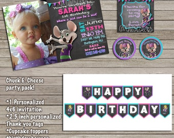 girl Chuck E Cheese invitation birthday bundle