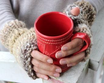 Hand knit Fingerless Gloves,Valentines Day Gift,Ivory&Brown Fingerless Gloves,Knit Texting Gloves,Fingerless Gloves for women,Knit Mittens
