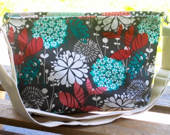 Red and Blue Floral Shoulder Bag with Adjustable Strap!