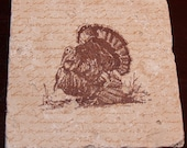 1113 64% Off Thanksgiving Turkey Premium Hand Stamped Absorbent Turkish Tumbled Travertine Tile Coasters