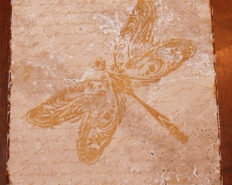 1128 Dragonfly Hand Stamped Absorbent Unsealed Turkish Tumbled Travertine Tile Coasters