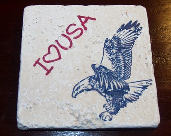 1601 Hand Stamped I Love the USA Eagle Premium Absorbent Unsealed Turkish Tumbled Travertine Tile Coasters