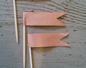 Natural Brown Kraft Paper Cupcake Toothpick Flags. Brown Paper Cupcake Decorations.  Flag Toothpicks. Cupcake Toppers