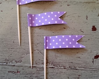 Purple Polka Dot Cupcake Toothpick Flags. Purple Cupcake Decorations.  Flag Toothpicks. Cupcake Toppers