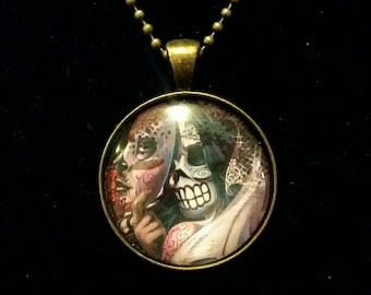 Handmade Day of the dead pendant necklace